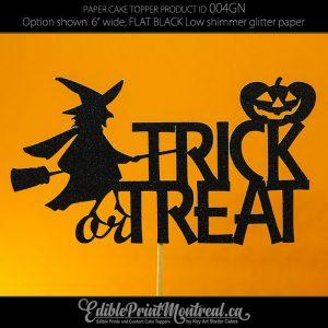 004GN Trick or Treat Halloween Glitter Paper Cake Topper.