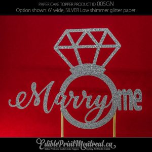 005GN Marry Me Proposal Diamond Ring Glitter Paper Cake Topper.