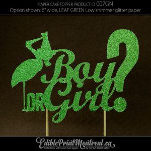 007GN Boy or Girl? Baby Gender Reveal Glitter Paper Cake Topper.