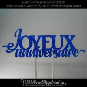 008GN Joyeux Anniversaire Glitter Paper Cake Topper.
