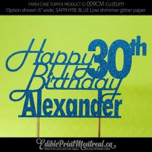 009CM Happy Birthday Name Number Glitter Paper Cake Topper.