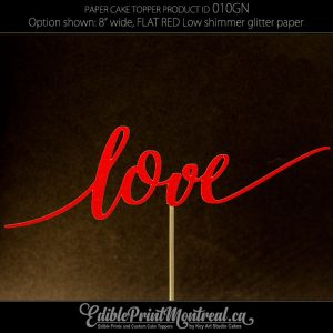 010GN Love Glitter Paper Cake Topper.
