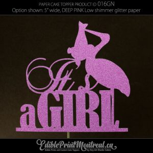 016GN It's a Girl Baby Gender Reveal Glitter Paper Cake Topper.