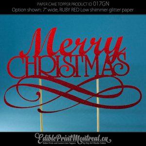 017GN Merry Christmas Glitter Paper Cake Topper.