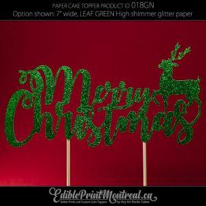 018GN Merry Christmas Deer Glitter Paper Cake Topper.