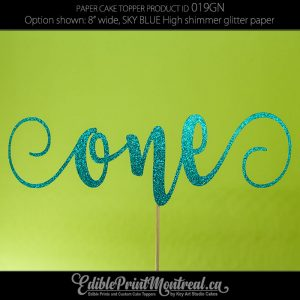 019GN One Two Three Word Number Glitter Paper Cake Topper.