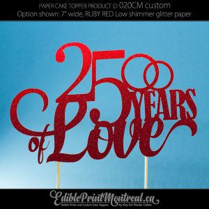 020CM Number Years of Love Wedding Anniversary Glitter Paper Cake Topper.
