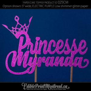 025CM Princesse Nom en français Glitter Paper Cake Topper.