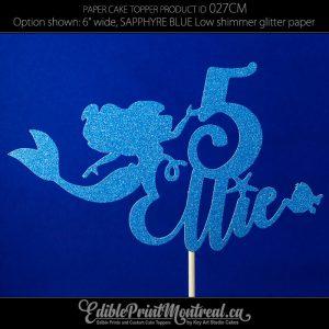 027CM Little Mermaid Girl Name Number/Age Glitter Paper Cake Topper.