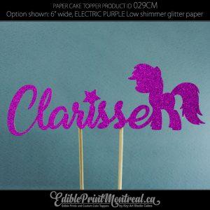 029CM Little Pony Name Glitter Paper Cake Topper.