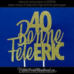 037CM Bonne Fete Name Number Glitter Paper Cake Topper
